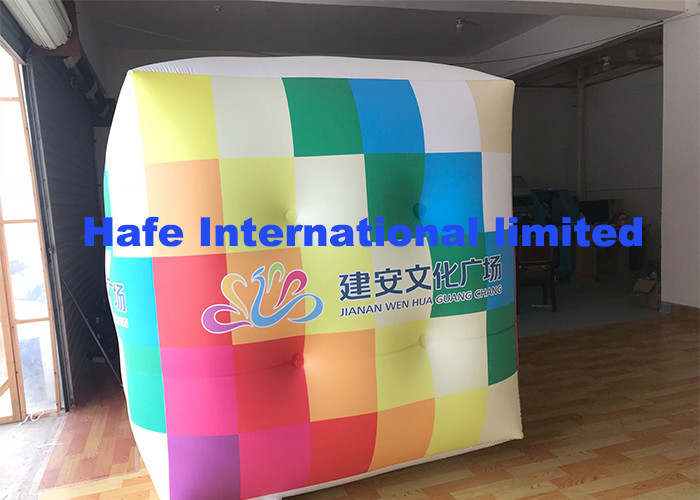2.5m PVC Cube Helium Balloon Lights With Full Logo Printing Flying For Advertising